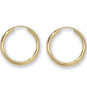9CT GOLD EARRINGS SLEEPER SMALL PLAIN 20mm  HOOP PAIR SOLID 9CT GOLD 2mm Wide