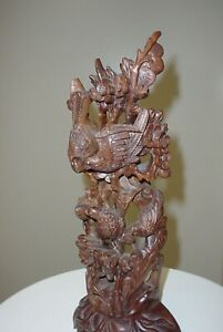 Elaborate Asian Carving of Five Birds in a Tree