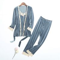 Autumn Winter Pajamas For Women Long Sleeve 3 Pcs Velvet Pyjamas Set Sleepwear