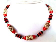 Very Old CZECH URANIUM GLASS & Red Black  Bead Vintage  Necklace 40cm