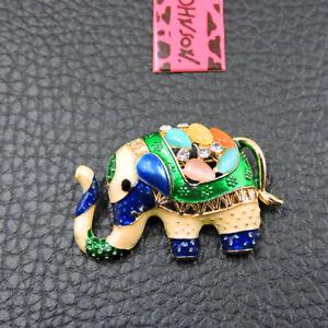 Multi-Color Opal Enamel Crystal Cute Elephant Betsey Johnson Animal Brooch Pin