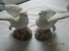 2 White Doves Figurines bisque porcelain made Mexico 1224Di vtg pink dogwood