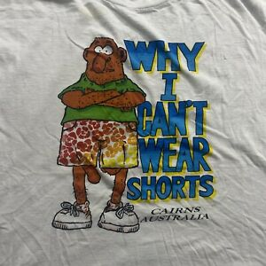 Vintage 90's Single Stitch WHY I CANT WEAR SHORTS Men's Size L Australia Shirt