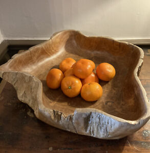 LARGE OLIVE WOODEN BOWL - SALADS - FRUIT-  VINTAGE RUSTIC