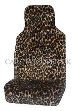 PAIR OF FURRY LEOPARD PRINT CAR SEAT COVERS - FITS MOST CARS