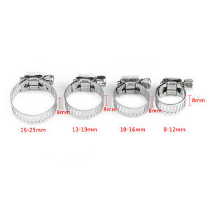 10pcs Adjustabl Screw Band Worm Drive Hose Clamps 304 Stainless Steel Pipe Clips