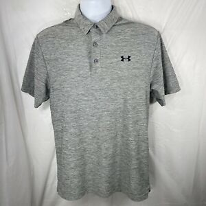 Under Armour HeatGear Mens Small Loose Fit Gray Polo Short Sleeve Button Shirt
