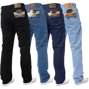 Mens Straight Leg Jeans Basic Work Denim Trousers Pants Big Tall All Waist Sizes