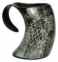 Game of thrones  Wolf viking drinking horn mug wolf carved tankard for beer