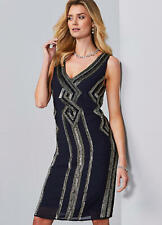 Striking Art Deco Style Hand Beaded Navy Evening Party Shift Dress size 16