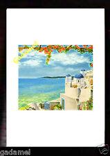 Stampa raffigurante Paesaggio Greco con cornice in legno noce anticato cm.22x30