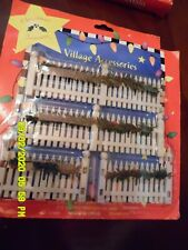 ChrismasTreasures Holiday Village Accessory, Fence/Greens, New in Pkg