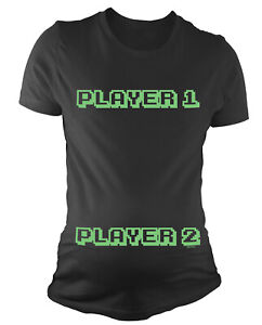 Ladies MATERNITY T-Shirt Player 1 Player 2 Funny Womens Pregnancy Baby Gift