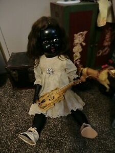 antique french Black SFBJ composition and wax 21 inch doll