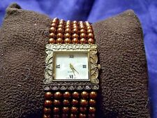 Woman's Quartz Watch with Bronze Color Beads **Nice** B17-1084