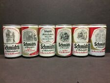 SIX Different 1976 Schmidt's Bicentennial Pull Tab Steel Beer Cans 4 Closed Tops