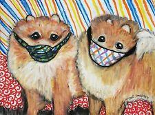 Pomeranian in Quarantine Art Print 4x6 Dog Collectible Signed Artist Ksams Masks