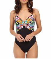 Bleu Rod Beattie Womens Black Floral A Lush Life Mio One Piece Swimsuit Size 8
