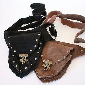 Leder Gürteltasche Hüfttasche Tasche Bauchtasche Larp Sidebag Schwarz Braun
