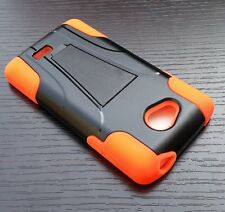 LG Optimus F60 Tribute LS660 HARD&SOFT RUBBER HYBRID SKIN CASE ORANGE KICKSTAND