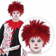 Mens Clown Red Spike Wig Hair Style Jesterina Harley Quinn Halloween Jester Joke