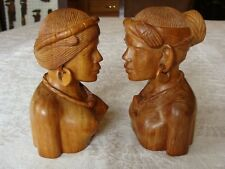 "Vintage Bali Wood Hand Carved Couple Figures Pair East India 6""  Well Done"