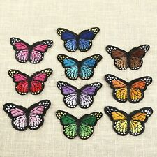 10pcs Butterfly Embroidered Iron on Patches Patchwork Applique Badge 4.2cmx7.4cm