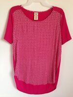 Women's FADED GLORY Tunic Fuchsia Rose Pink Tee Shirt Top Blouse Size Small NWT