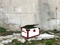 Vintage Wooden Storage Box with Clasps