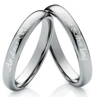 Eheringe Verlobungsringe Partnerringe aus Wolfram mit Ringe Lasergravur W784