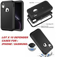 Lot of 10 Hybrid Rugged Rubber Hard Case Cover for Apple iPhone X 8 7 6s 6 Plus