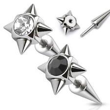 316L Surgical Steel Black Cubic Zirconia Gem Multi Spike Fake Ear Taper
