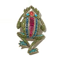 "HEIDI DAUS ""LEAPING LUXURY"" BRONZETONE CRYSTAL FROG PIN HSN $169.95 SOLD OUT"