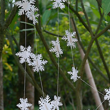 3D White Snowflake Hanging Bunting Xmas Banner Garland Christmas Party Decor New