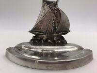Vintage Old White Metal Plated? Sailing Ship Galleon Trinket Dish / Ash Tray
