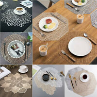 PVC Silver Gold Placemat Washable Flower Dining Wedding Table Place Mats Coaster