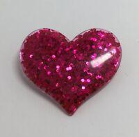 Hot Pink Large Heart Glitter Charms Resin Brooch Pin Badge G010 Kitsch Fun