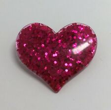 Hot Pink Large Heart Glitter Charms Resin Brooch Pin Badge G010 Kitsch Fun