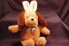 "Galerie Brown Dog Pink Rabbit Ears 11"" Plush Stuffed Animal Lovey Easter"