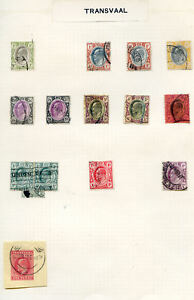 Transvaal largely used collection on 3 pages from 1900 to 1909 Ref:2019/04/26#01