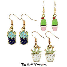TFB - CLASSY CACTI DANGLE EARRINGS Funky Retro Quirky Plant Flower Wild Mexican