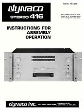 DYNACO STEREO 416 AMPLIFIER ASSEMBLY MANUAL 44 pages
