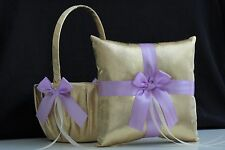 Violet Gold Flower Girl Basket & Ring Bearer Pillow Lavender Wedding Ring Pillow