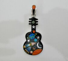 GLITTERING HANDCRAFTED CELESTIALINLAY STERLING SILVER GUITAR PENDANT
