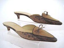 ELLEN TRACY Brown Suede Snake Print Leather Slide Kitten Heels Sz 8 1/2 B Italy