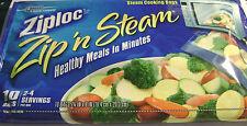 Ziploc Zip n Steam Pinch And Seal Bag 10 Microwave Cooking Bags Medium Lunch