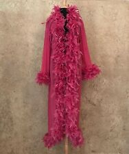 Pink Feather Trim Long Dressing Robe Burlesque Costume Stage Boudoir