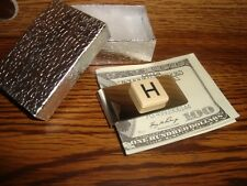 """"""" H """" MONOGRAM INITIAL faux Ivory Stainless Steel-Metal Money Clip wGift Box"""