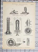 1886 Stampa Naturale Filosofia Telefono Trasmettitore Strumenti Edisons