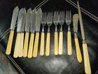 Bakelite (?) Cutlery Spreader Knife Forks Sharpening Tool 13pcs